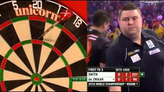 ALMOST 4 180'S IN A ROW! - Jeffrey De Zwaan vs Michael Smith - PDC World Darts Championship 2016