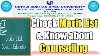 NSOU B.Ed in Special Education Merit List & Counseling || Know Everything About Admission Process 🔥