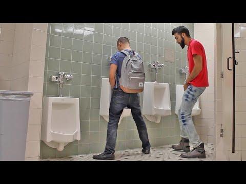PEEING ON PEOPLE BATHROOM PRANK PART 2!