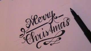 cursive fancy letters - how to write Merry Christmas