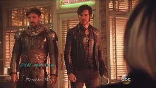 Once Upon A Time 5x21 Cruella with Hook and King Arthur at Diner
