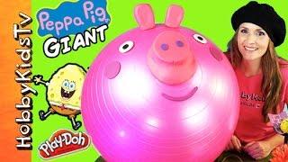 Mega GIANT Play-Doh PEPPA PIG Surprise Egg Head! SPONGEBOB Chocolate Egg, MLP, Toys HobbyKidsTV