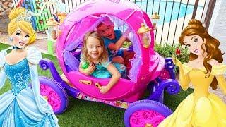 Disney Princess Carriage KIDS DRIVING IN THE BACKYARD Real Power Wheels Cinderella