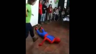 Spider man dies trying to make kid happy at party