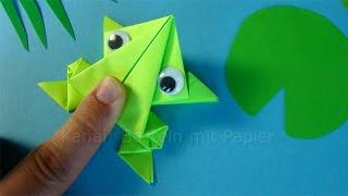 Hüpfenden Origami Frosch falten 🐸 Springenden Frosch basteln mit Papier - Tiere basteln mit Kindern
