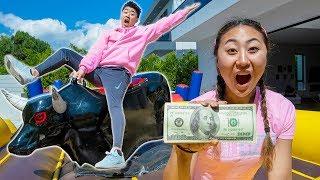 MECHANICAL BULL CHALLENGE!! (10 SECONDS WIN $100 DOLLARS)