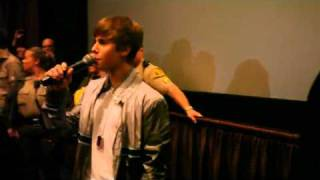 Justin Bieber suprises his fans during Never Say Never