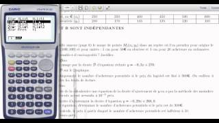 Methode moindres carres Casio