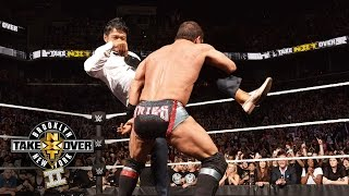 Hideo Itami hits Austin Aries with the GTS: NXT TakeOver: Brooklyn II, on WWE Network