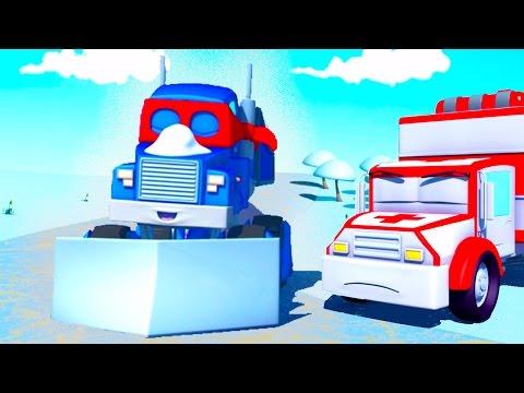Carl o Super Caminhão e o Limpa-neve na Cidade do Carro | Desenho animado para crianças
