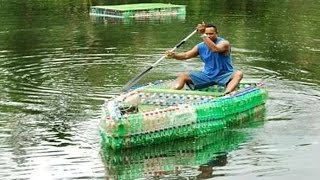Plastic bottle boat █▬█ █ ▀█▀ Soda water bottles