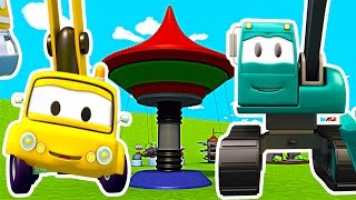 Construction Squad: the Dump Truck and the Excavator build Flying Chairs for Baby Trucks in Car City