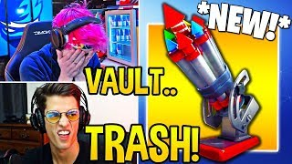 "STREAMERS *FIRST TIME* USING *NEW* ""BOTTLE ROCKETS! Fortnite FUNNY Moments"