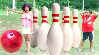 GIANT BOWLING CHALLENGE! - Bad Baby Shiloh and Shasha - Onyx Kids