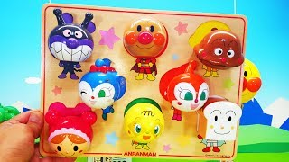 アンパンマン アニメ おもちゃ 大きな顔パズル❤みんなのお顔が少し変だね!animation Anpanman Toy