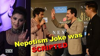 Karan-Saif-Varun's Nepotism Joke was SCRIPTED: Urvashi Rautela