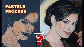 How to draw realistic portrait using soft pastels- Drawing Anne Hathaway