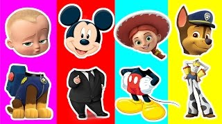 Boss Baby Wrong Head | Chase, Jessie, Mikey Mouse Toys playing Right Head | Kids Match up Game
