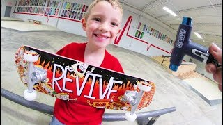6 YEAR OLD BUILDS NEW SKATEBOARD!