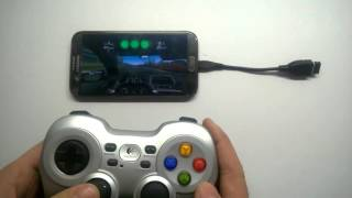 Note 2 +Realracing 3 + OTG cable + Logitech F710 gamepad