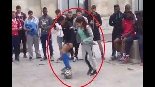 شاب أراد استعراض مهارته الكروية ضد فتاة لكن شاهد ماذا فعلت به !