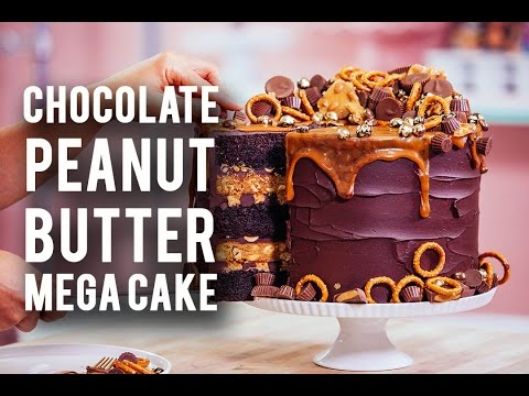 How To Make A CHOCOLATE PEANUT BUTTER MEGA CAKE Rich Chocolate Sweet Caramel & Peanut Butter