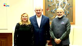 Indian PM Modi hosted PM Netanyahu and his wife Sara for dinner at his residence