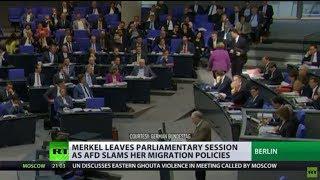 Merkel walks out of parliament as AfD leader slams her migration policies