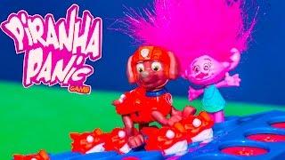PIRANHA PANIC Game Paw Patrol Vs Poppy and Dreamworks Trolls Funny Game Video