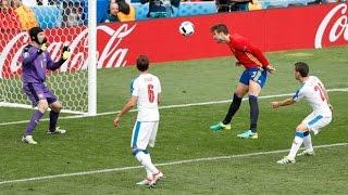 Spain vs Czech Republic 1-0 Pique Header Goal