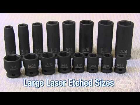 3/8 Inch Drive 16 Piece SAE Deep and Standard Impact Socket Set from Eastwood