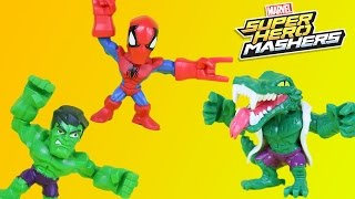Marvel Super Hero Mashers Micro Lizard & Spiderman w/ Hulk and the Ninja Turtles! Adventure!