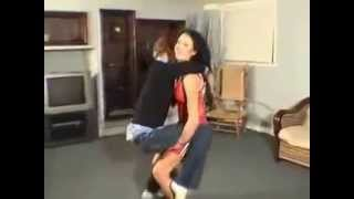 Vanessa Lifts and Carries Kevin and Kisses Him - Front Piggyback