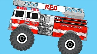 Monster Fire Trucks Teaching Colors for Kids - Best Learning Colours Video for Children & Toddlers