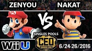CEO 2016 Smash 4 - ATRAKT | Zenyou ( mario) Vs. CLG | Nakat (Ness) SSB4 Tournament - Smash Wii U