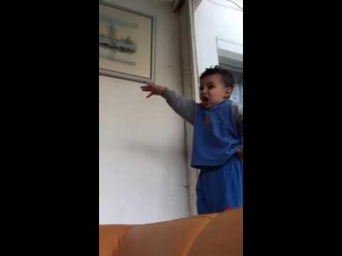 Refugee Baby imitate Hitler