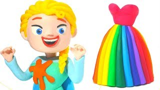 FROZEN ELSA & RAINBOW DRESS ❤ Superhero Play Doh Cartoons For Kids ❤ Stop Motion Movies
