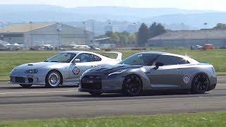 990HP Toyota Supra vs. 980HP Nissan R35 GTR Rolling Start Drag Race