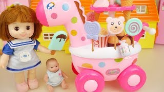 Baby doll and Giraffe Ice cream car and kitchen cooking play