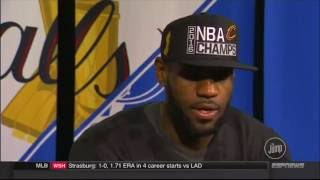 Rachel Nichols interviews LeBron James after the 2016 NBA Finals