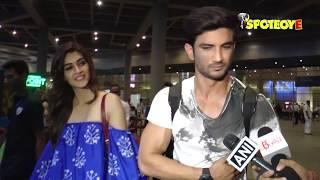 Sushant Singh Rajput and Kriti Sanon return from Hyderabad after Raabta Promotions | SpotboyE