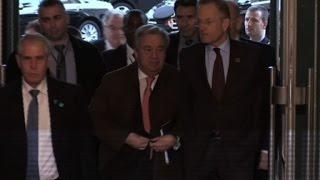 UN chief arrives for Cyprus peace talks in Geneva