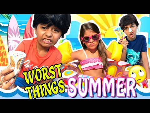 Summer Funny Skit 10 Worst Things In Summer 2017 Comedy Kids GEM Sisters