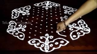 Simple butterfly kolam designs with15-8 middle | chukkala muggulu with dots| rangoli design