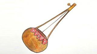 How to draw aktara /monochord step by step ||very easy||