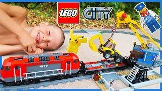 Lego City Train Set with Backhoe and Crane | Heavy Haul Time Lapse Build!