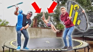 EXTREME TRAMPOLINE TRICKS IN THE RAIN!!!
