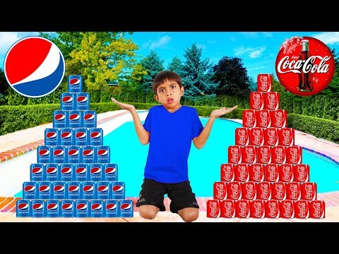 Coke vs Pepsi Pretend Play Funny Boy Goes Shopping & Play Stacking Game