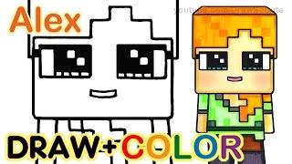 How to Draw Minecraft Alex Cute step by step