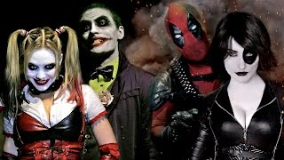 JOKER & HARLEY QUINN vs DEADPOOL & DOMINO - Super Power Beat Down (Episode 16)